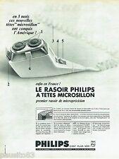 PUBLICITE ADVERTISING 126  1966  rasoir éléctrique tete microsillon par Philips