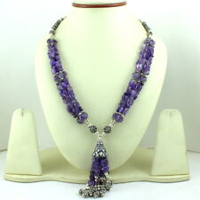NATURAL REAL FINE AMETHYST GEMSTONE BEADED BEAUTIFUL NECKLACE 87 GRAMS