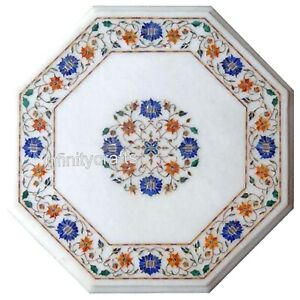 """13"""" Marble Coffee Table Top Inlay Multi Color Gemstones Bed Side Table for Room"""