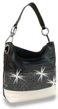 Bling accent banded hobo white and black