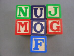 LOT 7 Vtg Playskool Wood Color Embossed Alphabet Letters Building Blocks