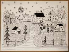 Country Landscape PEN and INK ORIGINAL Drawing FOLK ART 9 x 12 inch Karla Gerard