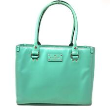EUC Kate Spade Wellesley Quinn Green Leather Handbag Polka Dot Interior
