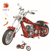 RED Motorcycle Moto City Model Building Blocks Educational Funny Children Brick