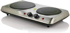 Ovente Electric Glass Infrared Burner 7 Inch Double Hot Plate with Temperature C