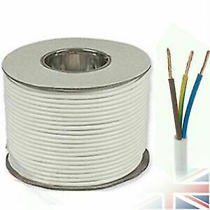 2.5mm Round Flex cable 3 core White 15 metre
