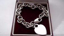 Charm Bracelet Solid Silver Tiffany & Co Hallmarked 2002 Genuine 100% Heart