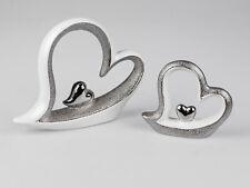 Formano Herz Skulptur cremeweiss silber 18 x 15 cm Muttertag Liebe Valentinstag