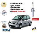 para Renault Modus 1.4 2004> Kit de servicio filtro polen aire aceite + Bujías
