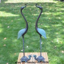 Western Pure Bronze Copper Two crane Xuanwu tortoise Art Deco Sculpture Statue