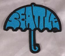 Embroidered Retro Mod Aqua Blue Seattle Umbrella Rock Patch Applique Iron On Sew