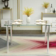Modern Rectangular Glass Top Metal Dining Table Kitchen Dining Room Furniture