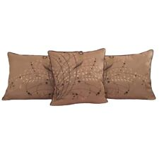 3 pcs F.Beige Queen Size Jacquard Satin Meadow Reeds Pillow Cases/Cushion Covers
