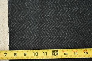 "18"" Long x 60"" Wide, Black & Gray Herringbone Heavy-Weight Wool, P856"