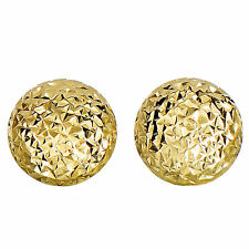 14K Yellow Gold Diamond Cut Round Puffed Stud Earrings, 11mm