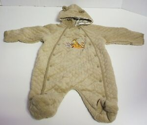 Disney Hooded Snowsuit Pooh Tigger Roo Quilted Infant Snap Up Winte Coat Tan