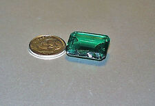 Huge Octagon Chatham Emerald Gem Quality Stone Never Set Approximately 17.5 Ct