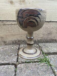 Earthenware Goblet Glazed Brown Chalice Stoneware Studio Pottery Vintage Retro