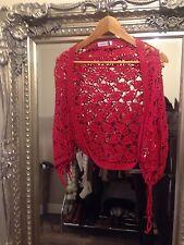 Cardigan giacca di lana rossa taglia S