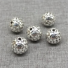 2pcs of 925 Sterling Silver Cobbled Type Round Ball Beads 10mm