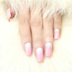 Pink Artificial Fake Nails Manicure Gradient  DIY Tools Pre-designed Press On