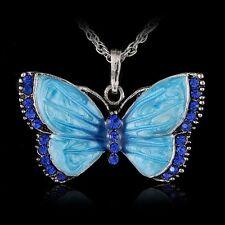 Women Fashion Jewelry Enamel Butterfly Crystal Silver Pendant Necklace Chain