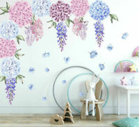 Hydrangea Wisteria Flower Decal Wall Stickers Kids Girls Nursery Home Decor Art