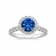 Real Diamond 2.60 ct Blue Sapphire Gemstone Rings 14kt White Gold Round Size 6 7