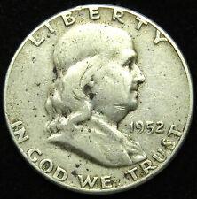 1952 Franklin 90% Silver Half Dollar Very Good Vg (B01)