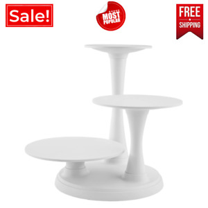 Wilton Pillar Style Cake & Dessert Stand 3-Tier Displaying Cupcake Plastic,White