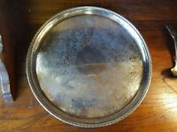 A Good Silver Plated Engraved & Chased Circular Serving Tray