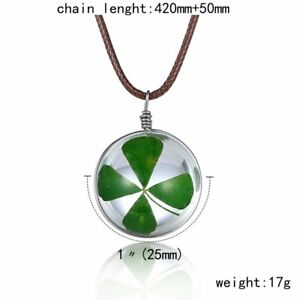 Natural Real Dried Flower Four-leaf Clover Glass Pendant Necklace Women Jewelry