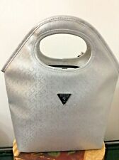 Guess Handbag Junction Travel Bag Insulated Logo Tote Zip Top Silver