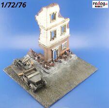 Redog 1/72 1/76 Model Display Base Diorama Street Ruined Building Corner /R5