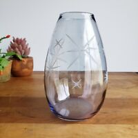 Blue Iridescent Glass Atomic Starburst white glitter  Vase 7 inches