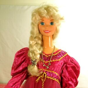"""My Size BARBIE DOLL1992 Vintage Blonde Hair & Blue Eyes 38"""" Tall 2 Outfits"""