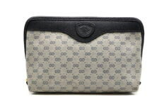 GUCCI Old Vintage Mini Pouch Clutch Bag GG Pattern Navy Good condition 0891h