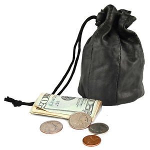 Genuine Leather Drawstring Pouch Spring Locks Coin Purse Wrist Pouch New