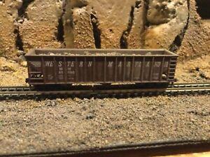 N Scale Atlas 90 ton coal car WM WESTERN MARYLAND w/load mtl cplrs