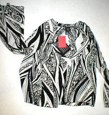 New NWT Womens 8 Italy Designer Silk Blouse Just Cavalli 46 Black White Bell Sle