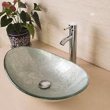 Artistic Oval Tempered Glass Bathroom Vessel Sink Drain Basin Faucet Combo Set