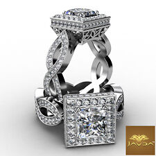 Filigree Ring Gia G Vs2 2.8Ct Cross Shank Halo Pave Princess Diamond Engagement