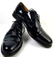 Lands End Oxford Shoes Mens Size 13 Formal Black Plain Toe Leather Derby Brazil