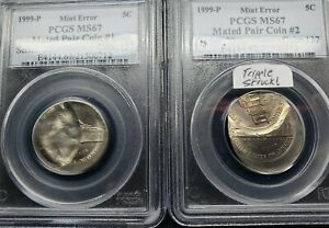 ⭐ 2 COIN'S 1999 NICKEL MATED PAIR TRIPLE STRUCK BROCKAGE MINT ERROR PCGS MS67 ⭐