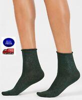 HUE Metallic Roll Top Shortie Socks Evergreen One Size - NWT