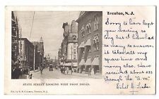 New Jersey postcard Trenton State Street West from Broad 1905 busy street scene
