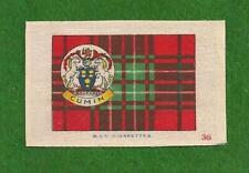 CLAN CUMIN CUMMING or COMYN TARTAN printed silk tartan & Coat of Arms 1922