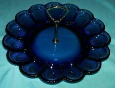Vintage Cobalt Blue Indiana Glass Deviled Egg Tidbit Plate Dish Tray Platter