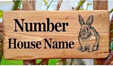 Rustic Rabbit House Gate Sign Plaque Door Number Personalised Name Plate Bunny