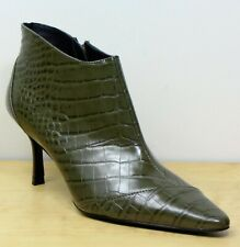 ZARA Trafaluc CROC Print KITTEN Heel ANKLE BOOTS ~ Size 5 ~ GREEN